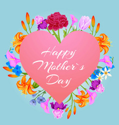 happy mothers day with flowers pink heart vector image