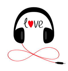 Headphones with cord cable and word love red vector