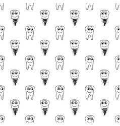 healthy teeth seamless pattern human molar vector image