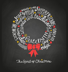 Inspiring words in christmas wreath shape vector