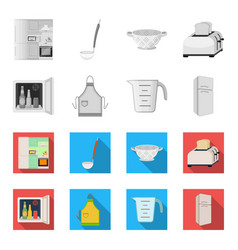 kitchen equipment monochromeflat icons in set vector image