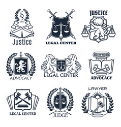 law firm lawyer office legal center icon design vector image
