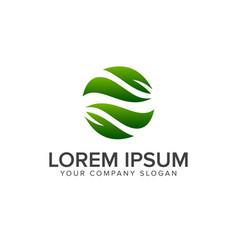 leaf garden nature circle logo design concept vector image
