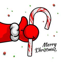 Like christmas santas claus hand thumbs up symbol vector