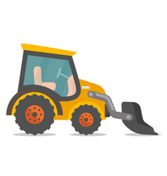 Loader excavator cartoon vector