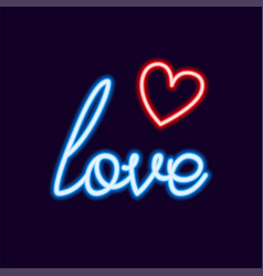love neon font with icon 80s text letter glow vector image