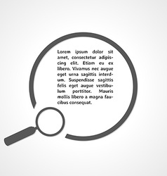 Magnifying glass symbol and circle vector