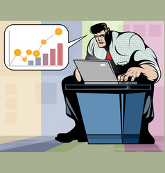 man working on a laptop vector image