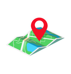 Map with geo tag isometric vector