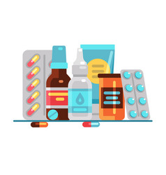 medical pills and bottles healthcare medication vector image