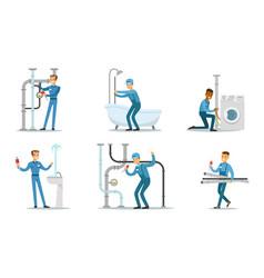 Men plumbers in blue overalls work vector
