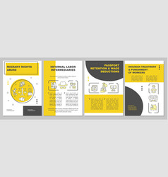 Migrants rights abuse brochure template vector