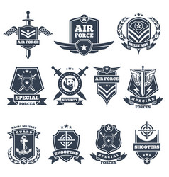 Military logos and badges army symbols isolated vector
