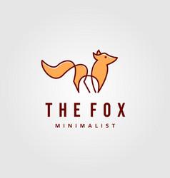 Modern minimalist line art orange fox logo designs vector