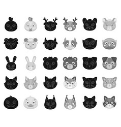 muzzles of animals blackmonochrome icons in set vector image