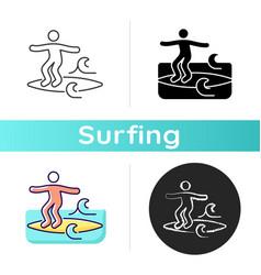 Noseriding surfing technique icon vector