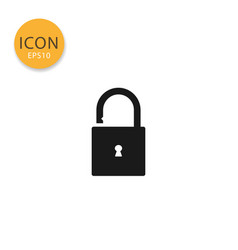open padlock icon isolated flat style vector image