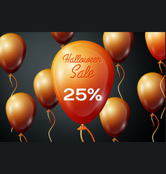 orange ballons with inscription halloween sale vector image