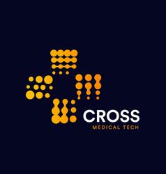 orange circles medical symbol plus halftone vector image