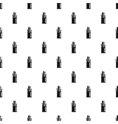 Paint brushes ruler and pencils in glass pattern vector
