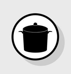 pan sign flat black icon in white circle vector image
