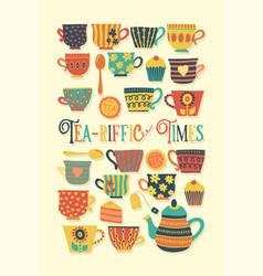 retro tea cup beige tea time vector image
