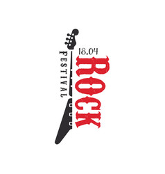 Rock festival logo 18 april black and red emblem vector