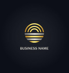 Round line abstract gold logo vector