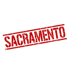 Sacramento red square stamp vector