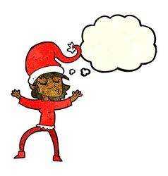 Santas helper cartoon with thought bubble vector