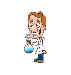 scientist kid holding test tube vector image
