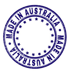 Scratched textured made in australia round stamp vector