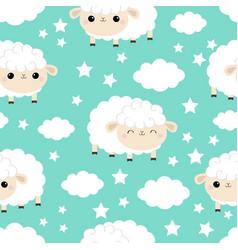 seamless pattern sheep sleeping eyes cloud star vector image