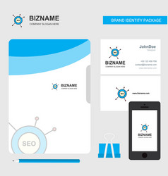 Seo business logo file cover visiting card and vector