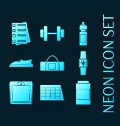 set fitness sport glowing neon icons vector image