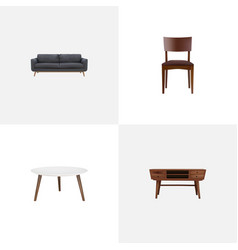 Set of furniture realistic symbols with commode vector