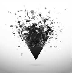 shatter and destruction dark triangle explosion vector image
