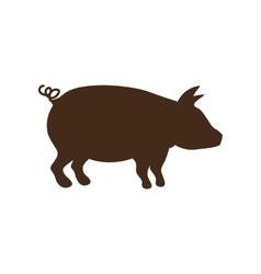 Silhouette brown color with pig vector