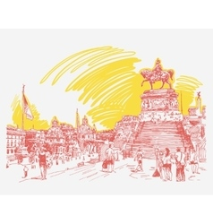 Sketch hand drawing piazza venezia in rome - altar vector