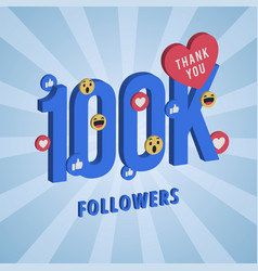 Social media banner with thank you for followers vector