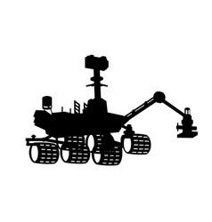 Space rover silhouette isolated black robot vector
