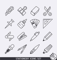 Stationery icons set BW vector