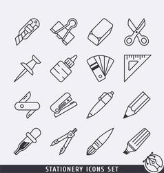 Stationery icons set BW vector image