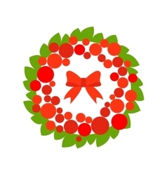 Stock christmas wreath with red ball and vector