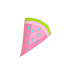 Sweet a slice of watermelon with green skin on vector