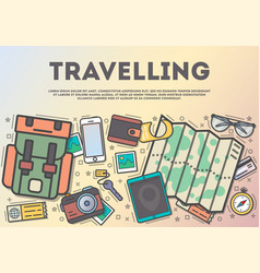 travelling top view banner in line art style vector image