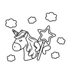 Unicorn and magic wand black and white vector