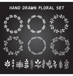 vintage set hand drawn rustic wreaths and vector image