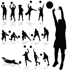 volleyball player black silhouette in various vector image