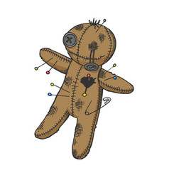 Voodoo doll color sketch engraving vector